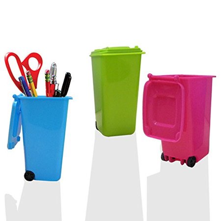 Mini Wheelie Trash Can Storage Bin Desktop Organizer Pen/Pencil Cup, 3pcs Creative Dust Bin School Supplies Holder- (Assorted Green, Blue, Red, Pink, and Black Colors) By Mega Stationers