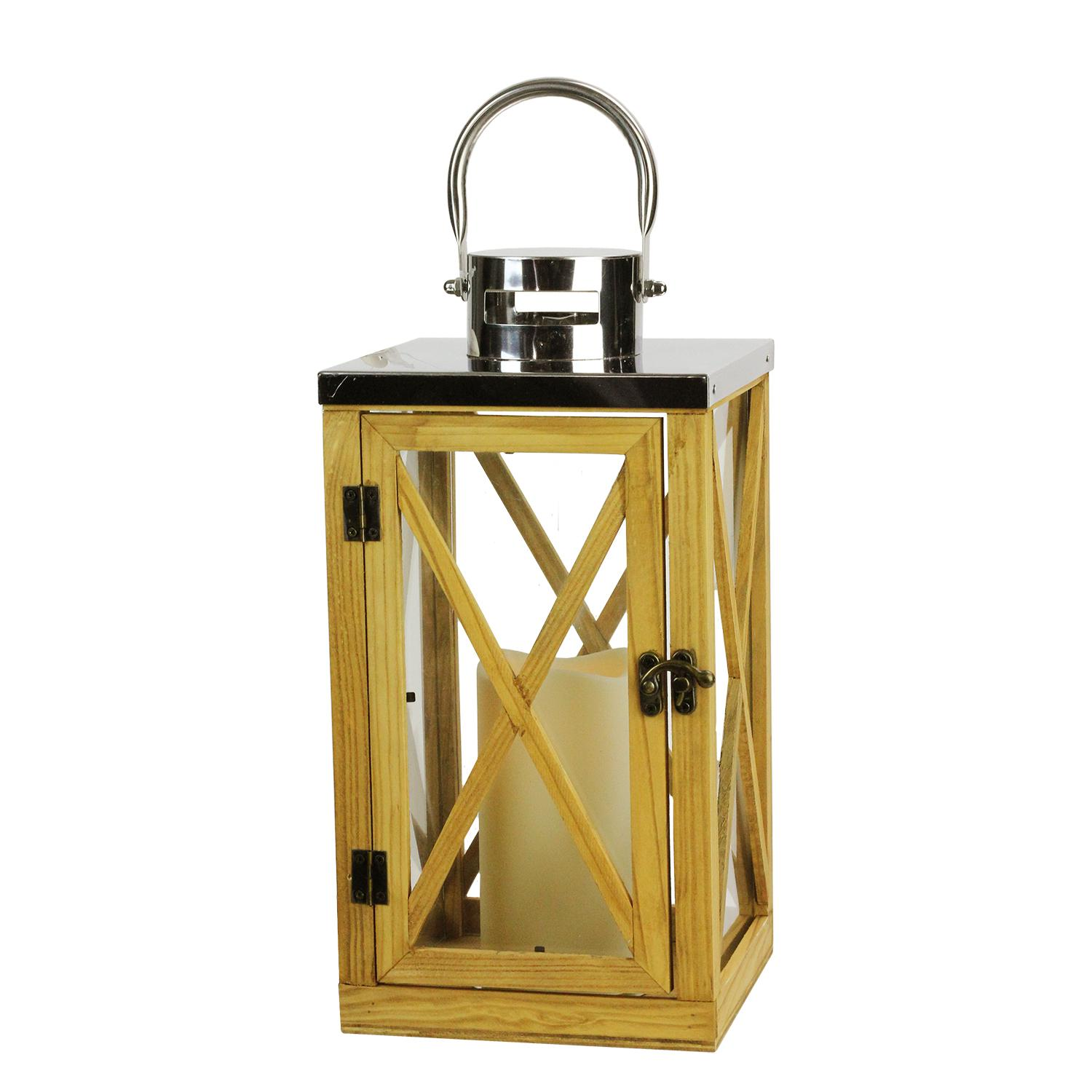 "13.5"" Rustic Wood and Stainless Steel Lantern with LED Flameless Pillar Candle with Timer"