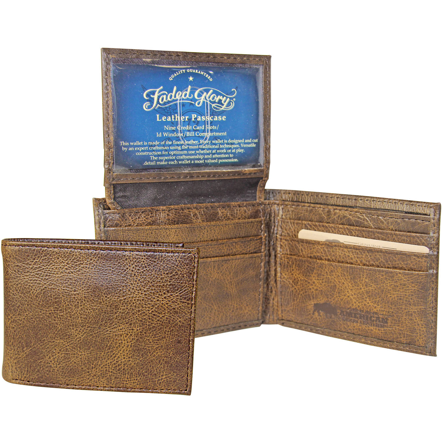 Faded Glory Men's Billfold Bison Wallet