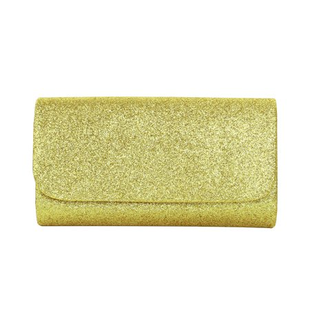 Premium Small Metallic Glitter Flap Clutch Evening Bag Handbag, Yellow Gold