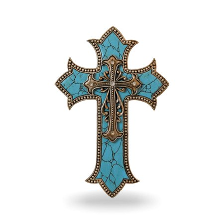 "Turquoise Cross Wall Decor Home - Decorative Family Crosses Wall Decor - Pretty Crosses for Wall - Made in Polyresin Religious Wall Art Cross - Crucifix Wall Cross Modern (11 1/2"")"