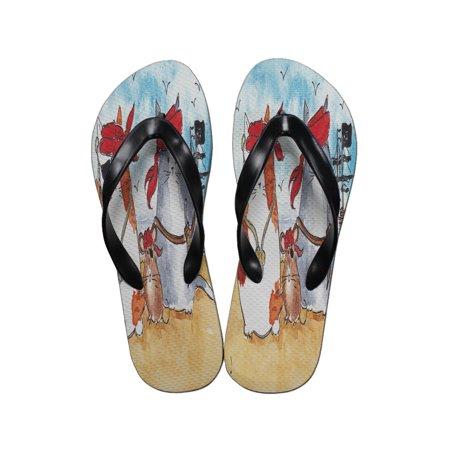 db40535c148 KuzmarK™ - KuzmarK Flip Flop Thong Sandals Unisex - Pirate Cats and Rat Art  by Denise Every - Walmart.com