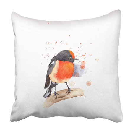 ARHOME Animal Watercolor Red Capped Robin The White Beautiful Bird Branch Color Nature Bird Pillowcase 16x16 inch