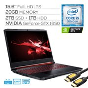 """Acer Nitro 5 Gaming Laptop, 15.6"""" IPS Full HD, NVIDIA GTX 1650, Core i5-9300H up to 4.10 GHz, 32GB RAM, 2TB SSD+1TB HDD, Backlit, RJ-45 Ethernet, Wi-Fi 6, USB-C, Mytrix HDMI 2.0 Cable, Win 10"""
