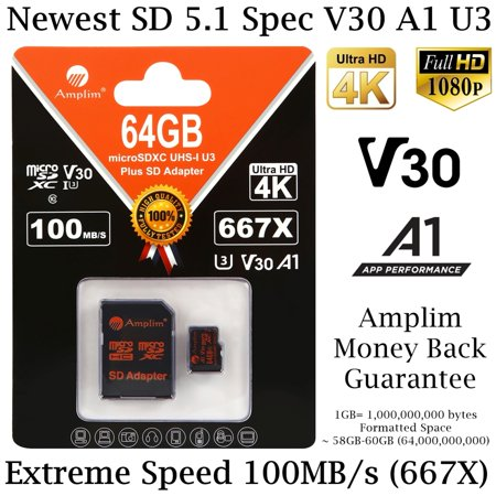 64GB MicroSD Card plus SD Adapter. Amplim 100MB/s MicroSDXC V30 A1 Class 10 U3 Micro SD Memory Card for UHD 4K Video, GoPro, Cell Phones Galaxy, LG, Sony Xperia, DJI, Drones, Cameras, Nintendo