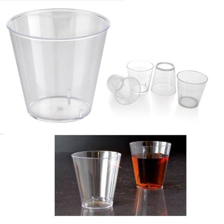 50 Clear Shot Glasses 2 oz Hard Plastic Disposable Cups Wine Party Catering Bar - Clear Plastic Shot Glasses