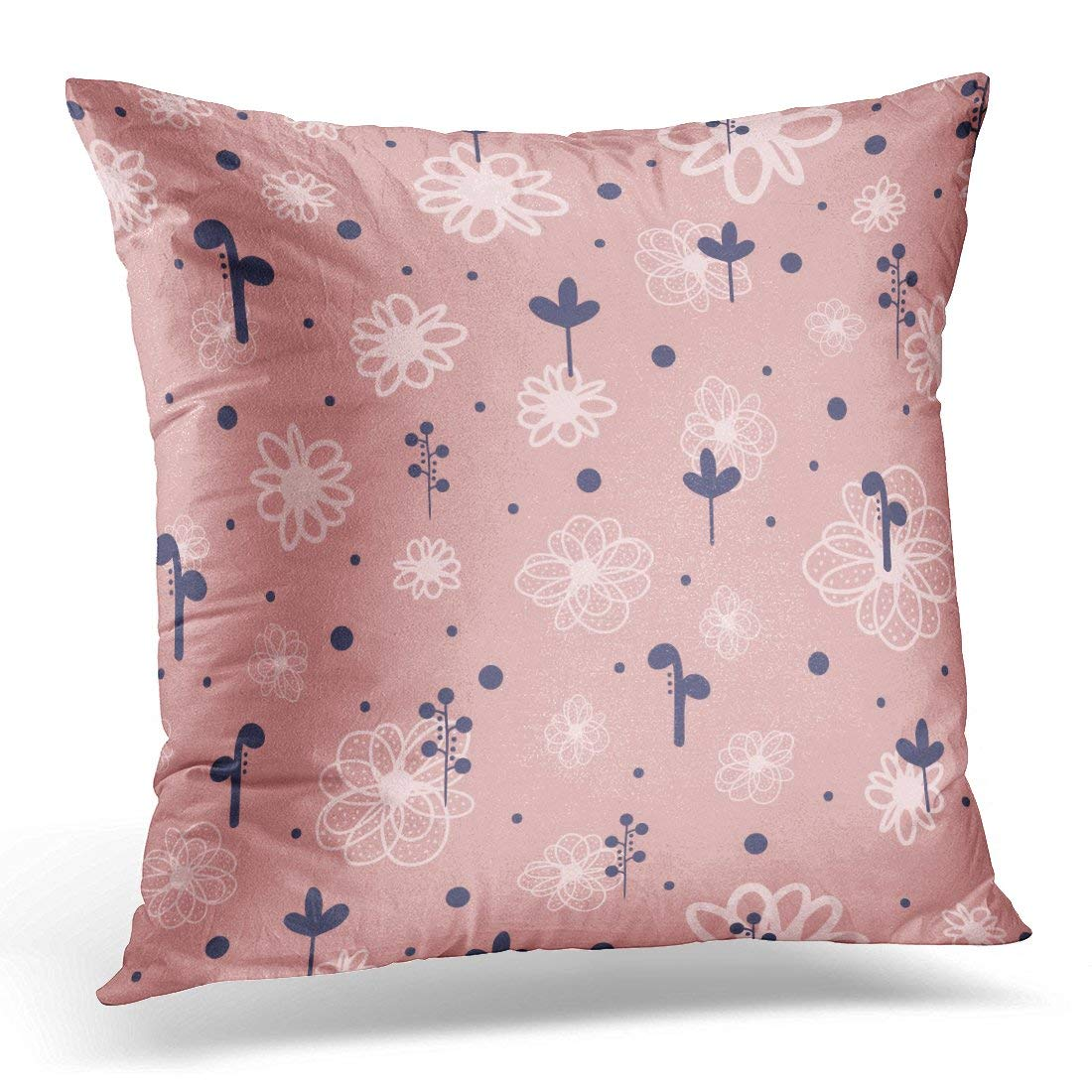 ARHOME Blue Abstract Cute Floral for Children Drawn Sketch Doodle Scribble Pink Autumn Pillow Case Pillow Cover 20x20 inch