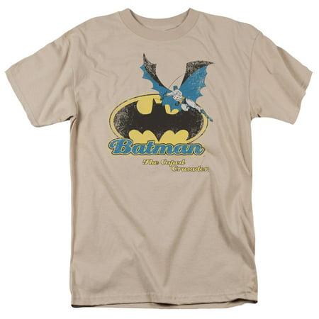 DC Comics Batman Caped Crusader Retro Sand Beige Adult T-Shirt -