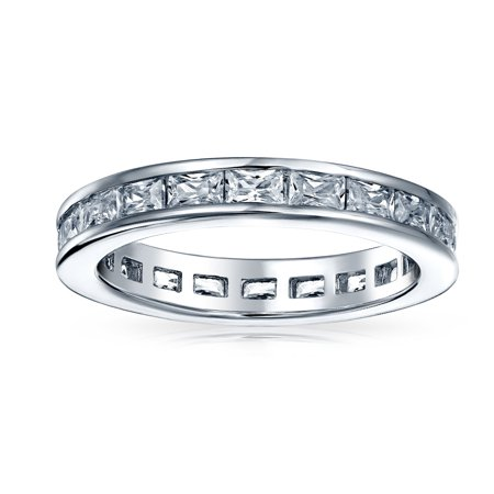 Simple Cubic Zirconia Channel Princess Cut CZ Stackable Wedding Band Eternity Ring For Women 925 Sterling Silver 2MM - image 1 of 3