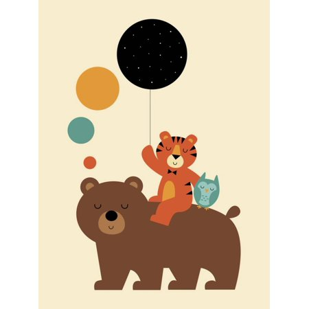Little Explorer Bear Tiger Whimsical Animal Graphic Design Childrens Room Print Wall Art By Andy -