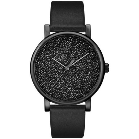 Women's Crystal Opulence Black Watch, Leather Strap