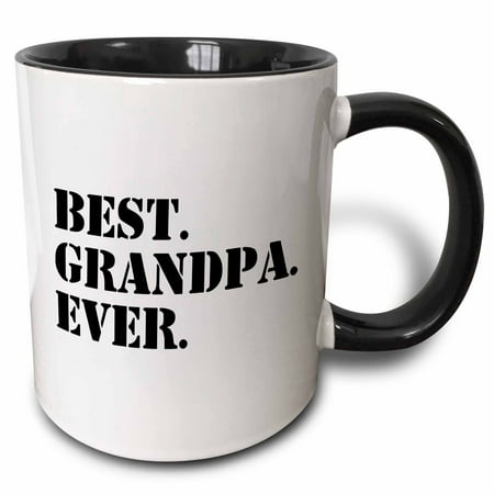 3dRose Best Grandpa Ever - Gifts for Grandfathers - Granddad nicknames - black text - family gifts - Two Tone Black Mug,