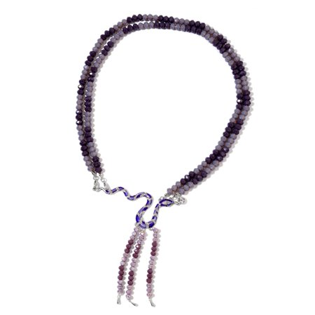 Purple Glass White and Black Crystal Enameled Silvertone Double Strand Snake Necklace with Tassel 22""