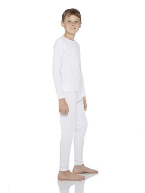 Rocky Boy's Smooth Knit Thermal Underwear 2PC Set Long John Top and Bottom Pajamas (White, S)