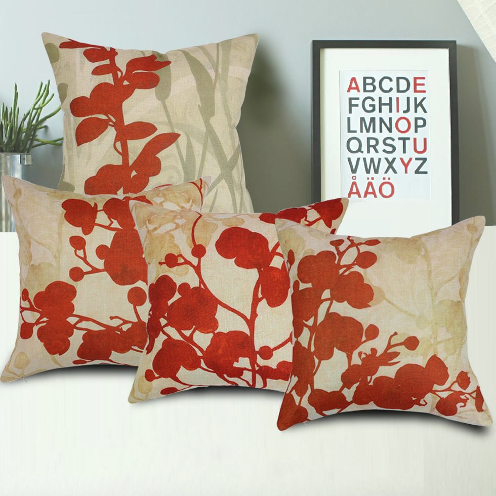 FabricMCC Set of 4 Flowers Pillow Covers Decorative Couch Throws Cases Cushion Covers 18 x 18 for Living Room