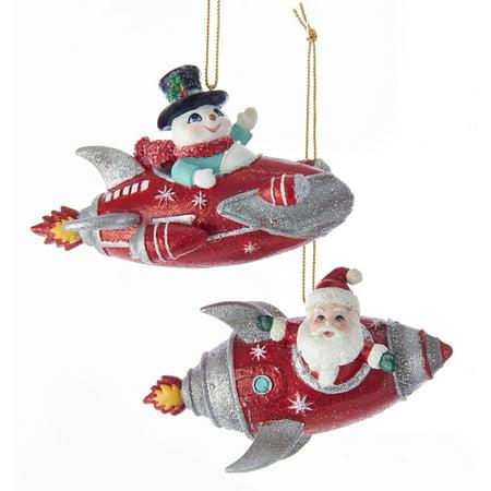 Kurt Adler Santa and Snowman Rocket Ornaments Mid Century Style Set of (Two Snowman)