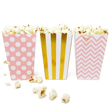 Mini Popcorn & Candy Favor Boxes for All Parties, Assorted Polka Dot, Chevron, Stripe Design, 36 Count (Pink, Gold Foil) - Popcorn Party Ideas