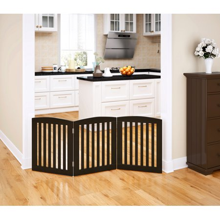 Pawland Wooden Freestanding Wire Pet Gate For Dogs 3