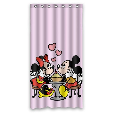 DEYOU Mickey Minnie Shower Curtain Polyester Fabric Bathroom Size 36x72 Inches