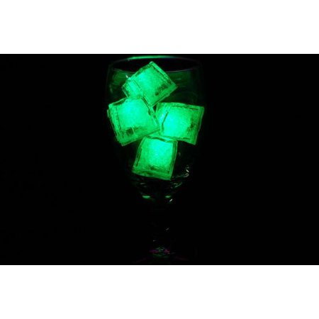 Set of 4 Brand Jewel Color Tinted Emerald Green Light up LED Ice Cubes, LiteCubes are approximately 1 inch square and are molded to resemble real ice cubes By LiteCubes,USA (Lited Ice Cube)