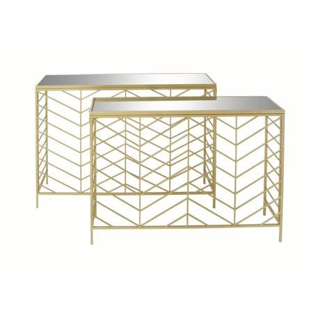 Decmode Set Of 2 Contemporary 30 And 32 Inch Textured Iron Gl Mirror Rectangular Console