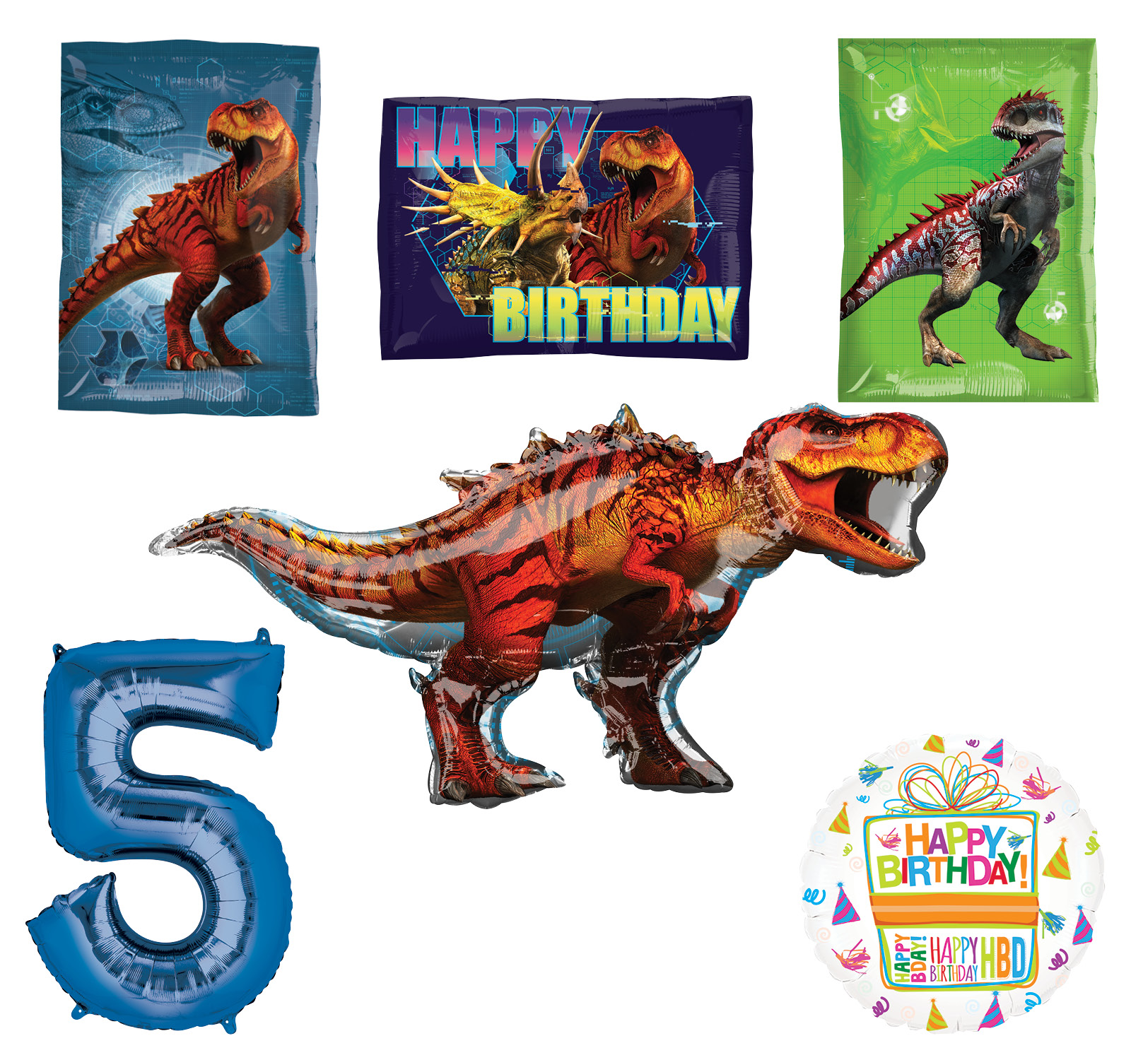 Jurassic World Dinosaur 5th Birthday Party Supplies and Balloon Decorations