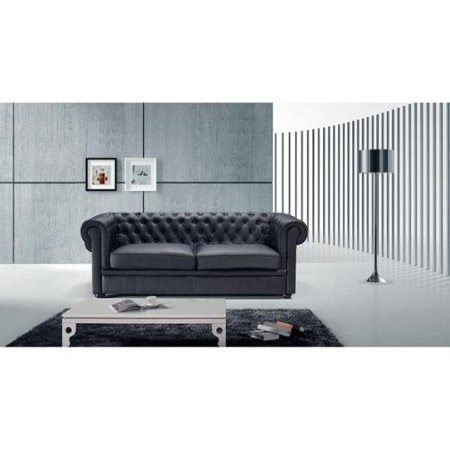 Velago Black Leather Avignon Two Seater Sofa By Walmart Com