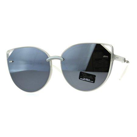 Womens Exposed Edge Oversize Cat Eye Mod Designer Sunglasses White Silver (Best Designer Cat Eye Sunglasses)