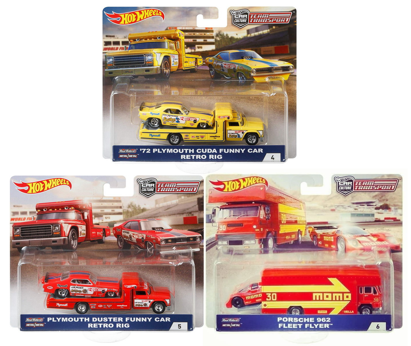 2018 Hot Wheels 50th Anniversary Car Culture Team Transport Set of 3 Car, Snake, Mongoose & Porsche 1 64 Scale... by