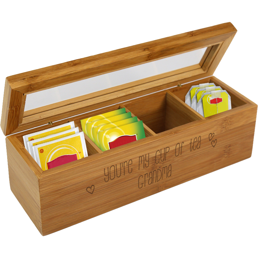 Cup Of Tea Personalized Wood Tea Box