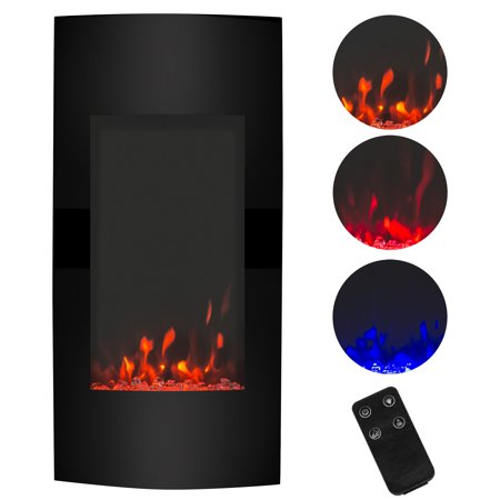 Black Electric Fireplace - Best Choice Products 38in 1500W Electric Vertical Wall Mounted Fireplace Heater with 3 Color Settings, Adjustable Heat and Remote Control