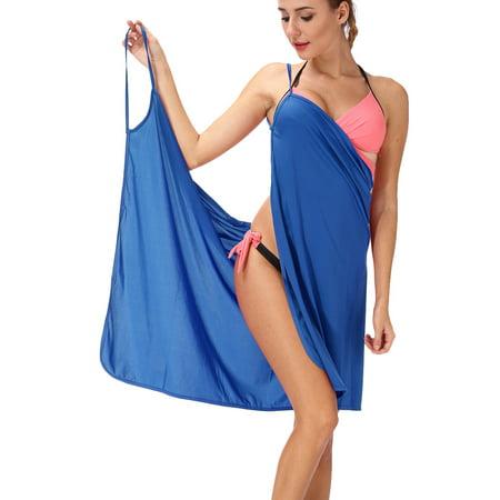 (SAYFUT Women's Ice Silk Strap Backless Beach Dress Swimsuit Cover Up Bikini Wrap Beach Dress)