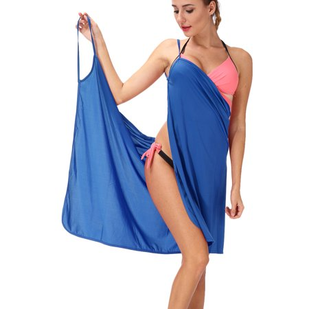 Black Swimwear Cover (SAYFUT Women's Ice Silk Strap Backless Beach Dress Swimsuit Cover Up Bikini Wrap Beach)