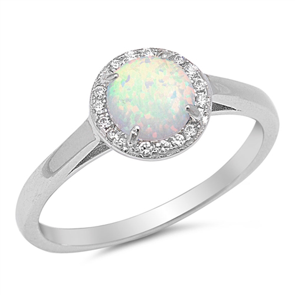 Round White Simulated Opal Halo Wedding Ring ( Sizes 4 5 6 7 8 9 10 ) New .925 Sterling Silver Band Rings by Sac Silver (Size 5)