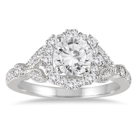 AGS Certified 1 1/3 Carat TW Diamond Halo Engagement Ring in 14K White Gold (I-J Color, I2-I3 Clarity)