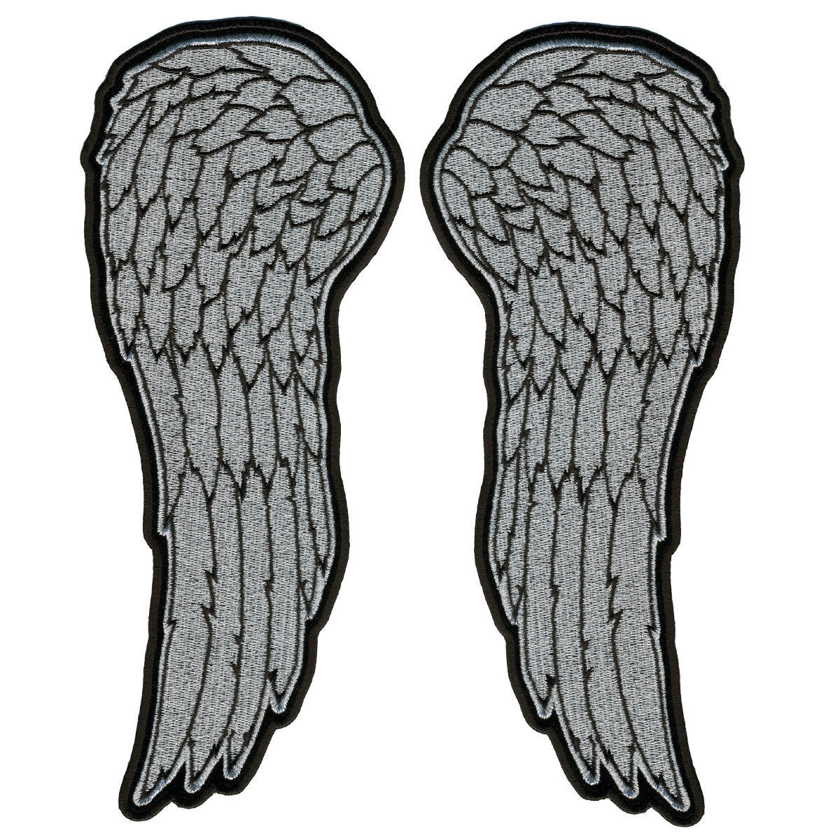 "Angel Wings, High Thread Embroidered Iron-on / Saw-on, Heat Sealed Backing Rayon PATCH - 4"" X 10"""