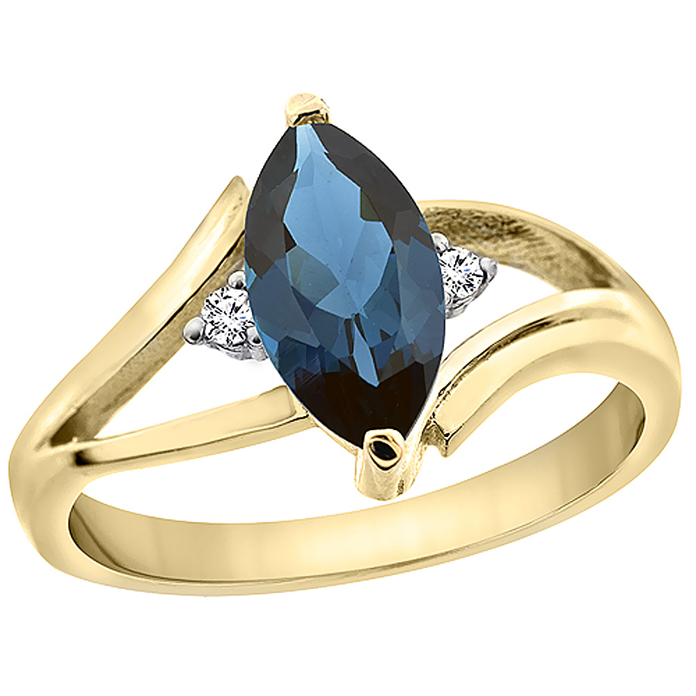 10K Yellow Gold Natural London Blue Topaz Ring Marquise 10x5 mm Diamond Accent, sizes 5 - 10 with half sizes