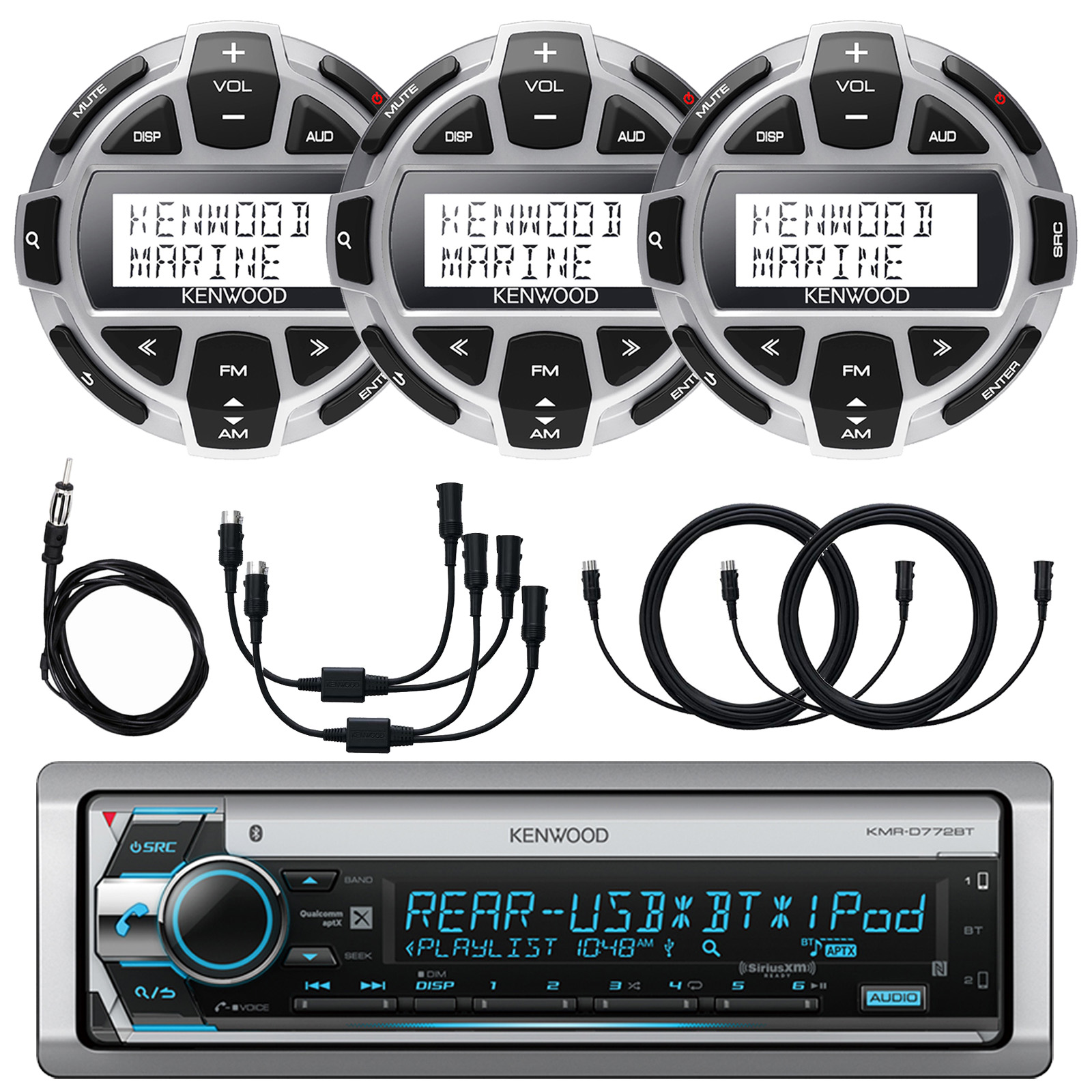 """Kenwood Single DIN Marine Boat Yacht USB CD Player Bluetooth Stereo Receiver, 3x Kenwood Digital LCD Display Wired Remote, 40"""" Enrock AM/FM Antenna, 2x Y-Cable Adapter, 3x 7-Meter 22 Ft Extension"""