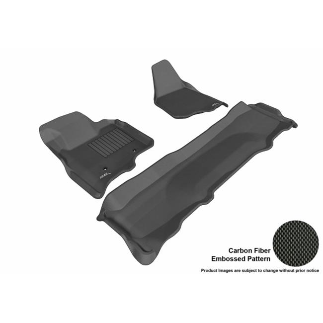 Kagu Rubber Black 3D MAXpider Complete Set Custom Fit All-Weather Floor Mat for Ford F-250//350//450 Crew Cab Models