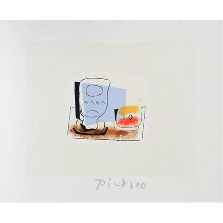 Pablo Picasso 2089 Nature Morte Au Verre  44  Lithograph On Paper 29 In  X 22 In    Blue  44  Black  44  Brown