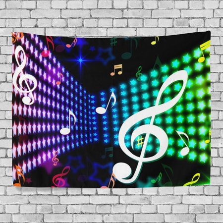 POPCreation Music Note Home Decor Collection, Bright Color Note Wall Art Polyester Tapestry Wall Hanging Art 40x60 inches