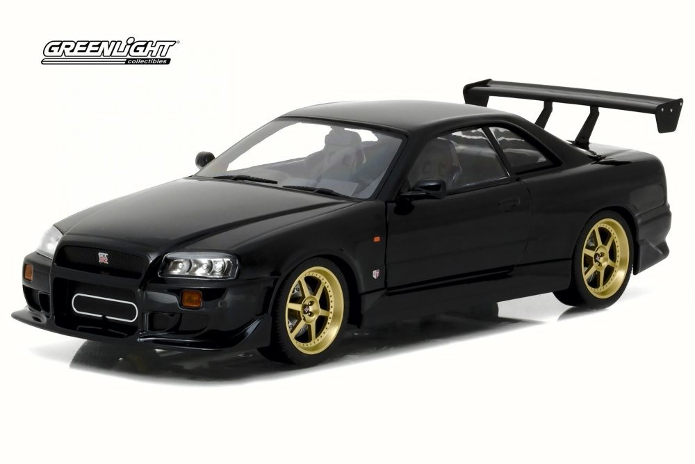 1999 Nissan Skyline GT R R34, Black   Greenlight 19030   1/18