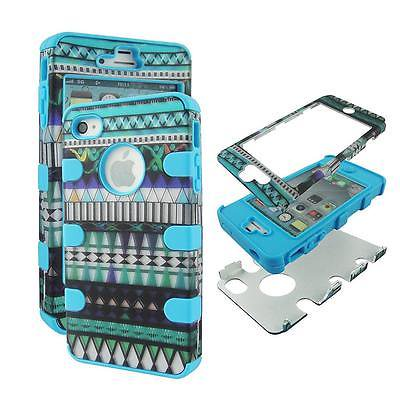 - For Apple Iphone 4 , 4S , 4G Hybrid Drop Protective Shock Proof Shock Absorb Enhanced Bumper Dual Layer Designer Case Shield Box Blu Blue Aztec Case Cover