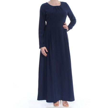 Verona Sleeve (VERONA Womens Navy Long Sleeve Jewel Neck Maxi Fit + Flare Wear To Work Dress  Size: S )