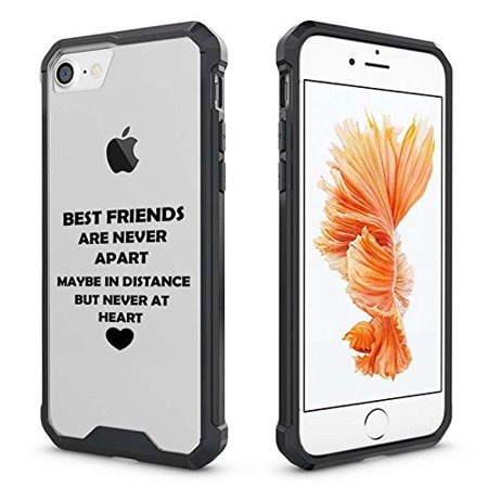 For Apple iPhone Clear Shockproof Bumper Case Hard Cover Best Friends Long Distance Love (Black for iPhone 8