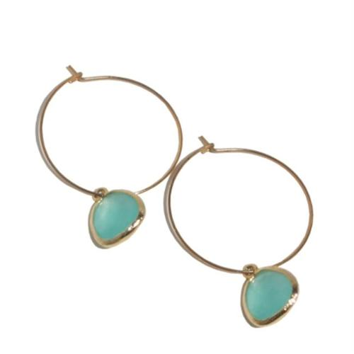 Rebecca HLSGT Hoop Stone - Gold-Turquoise