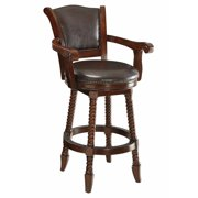 Traditional Rope Twist Wooden Bar Stool, Brown by Benzara