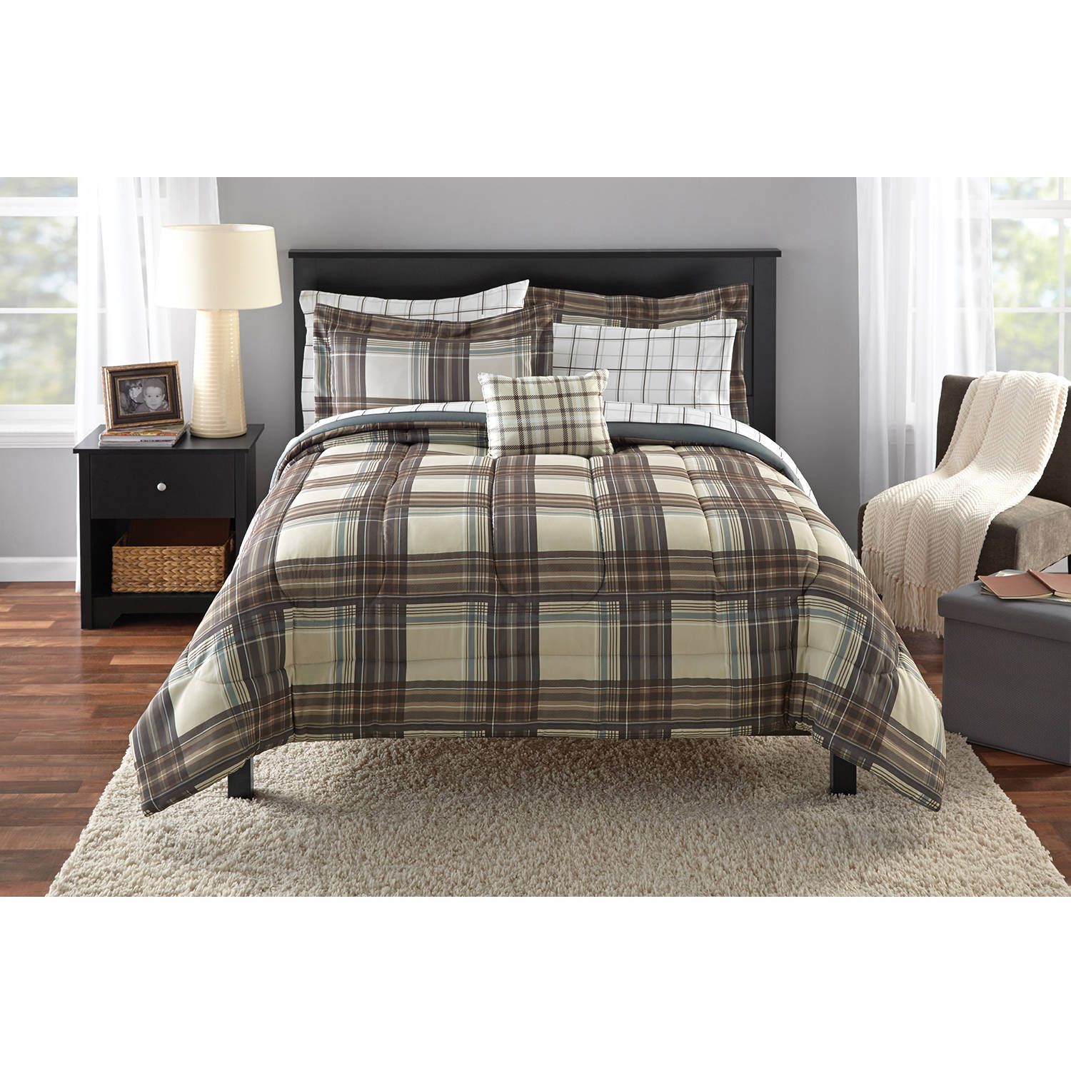 Mainstays Bed in a Bag, Brown Plaid