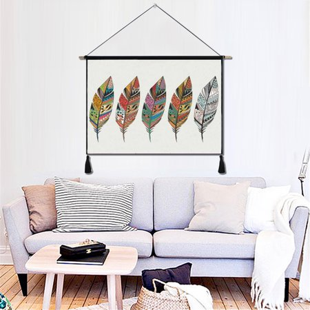 Cotton Linen Ethnic Feather Wall Hanging Tassel Tapestry Painting Art Home Decor Art Deco Wall Hanging