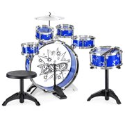 Best Choice Products 11-Piece Kids Starter Drum Set w/ Bass Drum, Tom Drums, Snare, Cymbal, Stool, Drumsticks - Blue